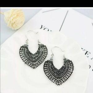 Jewelry - Bohemian Style Antique Faux Silver Hoop Earrings.